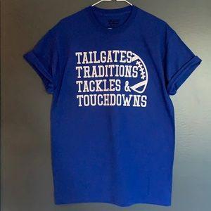 Football Tailgates Touchdowns Tshirt Size M 🏈💙